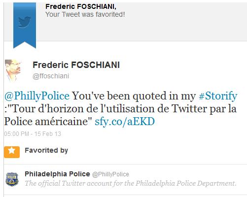 Preuve d'engagement de la Police de Philadelphie sur Twitter (1)