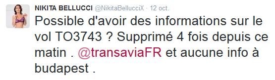 Tweet nikitabellucci VS TransaviaFR _1