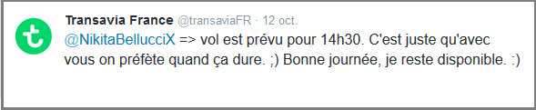 Tweet nikitabellucci_reponse TransaviaFR _1