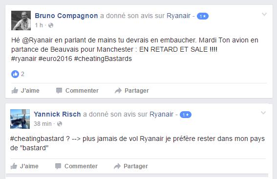 Critiques de Ryanair sur Facebook