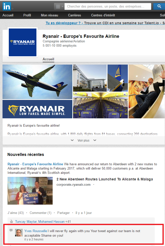 Critiques de Ryanair sur LinkedIN